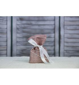 Μπομπονιέρα γάμου λινό πουγκί